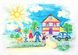 stock photo of dog-house  - Hand drawn Bright Childrens Sketch With Happy Family - JPG