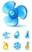air-conditioner icons - blow, direction, temperature, heating, cooling, moisture
