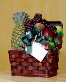 stock photo of gift basket  - Basket filled with delicious fruits - JPG