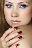 Woman with nice makeup and manicured nails
