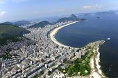 Aerial view of Copacabana beach and part of Ipanema in Rio de Janeiro, Brazil.