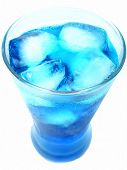 Blue Drink And Ice Cubes