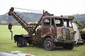 old rusty wrecker for car transport by accident
