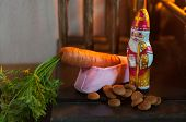 Sinterklaas shoe with carrot for the horse near the fireplace