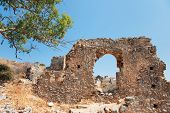 View on ruins at uptown Monemvasia at the Greek Peloponnese