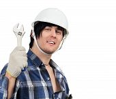 Cheerful Worker With Spanner In Hand