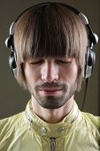 beautiful and young music dj listening music