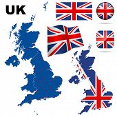 United Kingdom vector set. Detailed country shape with region borders, flags and icons isolated on w