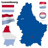 Luxembourg vector set. Detailed country shape with region borders, flags and icons isolated on white