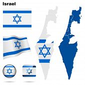 Israel  vector set. Detailed country shape with region borders, flags and icons isolated on white ba