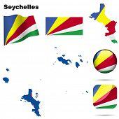 Conjunto de vectores de Seychelles. Forma detallada del país con las fronteras de la región, banderas e iconos aislados en blanco