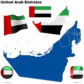 United Arab Emirates vector set. Detailed country shape with region borders, flags and icons isolate