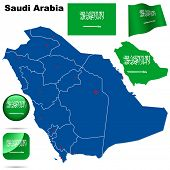 Saudi Arabia vector set. Detailed country shape with region borders, flags and icons isolated on white background.