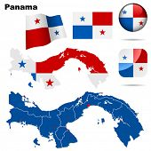 Panama vector set. Detailed country shape with region borders, flags and icons isolated on white background.