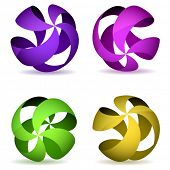Cuatro esferas de estructura metálica de rayas de color.