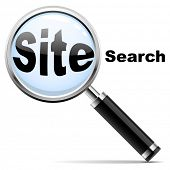 Web site search icon. Magnifying glass over