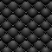 Seamless buttoned black leather vector texture.