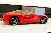 PARIS, FRANCE - OCTOBER 02: Paris Motor Show on October 02, 2008, showing Ferrari California, side view