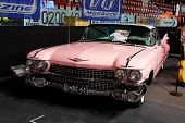 HELSINKI, FINLAND - OCTOBER 3: X-Treme Car Show, showing pink 1959 Cadillac Coupe on October 3, 2009