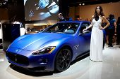 PARIS, FRANCE - SEPTEMBER 30: Paris Motor Show on September 30, 2010, showing Maserati GranTurismo, front view in Paris.