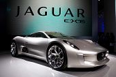 PARIS, FRANCE - SEPTEMBER 30: Paris Motor Show on September 30, 2010, showing Jaguar C-X75, front vi