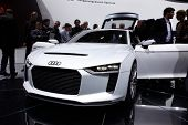 PARIS, FRANCE - SEPTEMBER 30: Paris Motor Show on September 30, 2010 in Paris, showing Audi quattro concept, front view