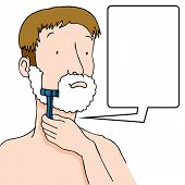 An image of a man using a razor to shave his face.