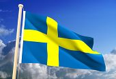foto of sweden flag  - High resolution 3D Swedish flag  - JPG