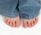 Close Up Of Cute Toddler Feet On White Background poster