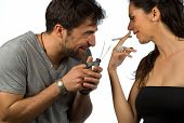 picture of stop hate  - Guy trying to help his girlfriend stop smoking - JPG