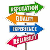 Reputation Quality Experience Reliability Trust Signs 3d Illustration poster
