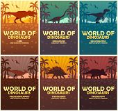 Posters Collection World Of Dinosaurs. Prehistoric World. T-rex, Diplodocus, Velociraptor, Parasauro poster