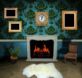 Dark antique living room with empty frames on vintage wallpaper