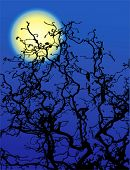 Eerie vector tree branches and moon
