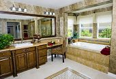 Elegant upscale bathroom with granite countertops