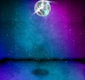 image of night-club  - Colorful funky grunge room with glittering disco ball - JPG