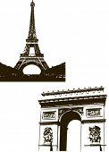 艾菲尔铁塔和弧 du Triopmhe 在巴黎,法国