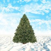 Christmas tree on snow covered ground with snowflakes