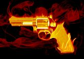Blazing red smoking hand gun