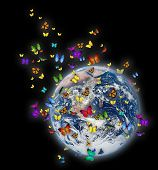 Colorful butterflies flying around a glowing earth
