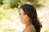 stock photo of black woman spa  - Pretty young ethnic woman outside - JPG