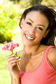 picture of black woman spa  - Pretty young ethnic woman outside - JPG