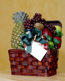 image of gift basket  - Basket filled with delicious fruits - JPG