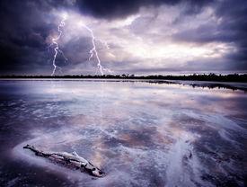image of lightning bolt  - Lightning Strikes a salt lake - JPG
