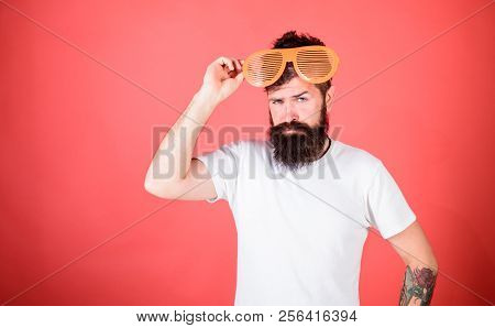 poster of Hipster Wear Shutter Shades Sunglasses. Fashionable Accessory. Sunglasses Party Attribute And Stylis