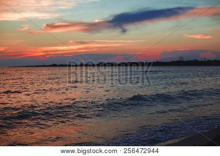 poster of Amazing Sea Sunset. Sunset Sea Waves. Summer Sunset. Beautiful Seascape Evening Sunset Sea And Sky H