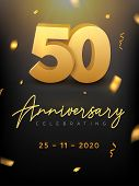50 Years Anniversary Celebration Event. Golden Vector Birthday Or Wedding Party Congratulation Anniv poster