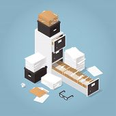Isometric Concept Folder Archive. Vector Illustration With Paper, Boxes And Documents. poster