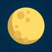 Moon In Flat Dasign Style. Night Space Astronomy And Nature Moon Icon. Gibbous Vector On Dark Backgr poster