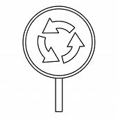 Circular Motion Traffic Sign Icon. Outline Illustration Of Circular Motion Traffic Sign Icon For Web poster